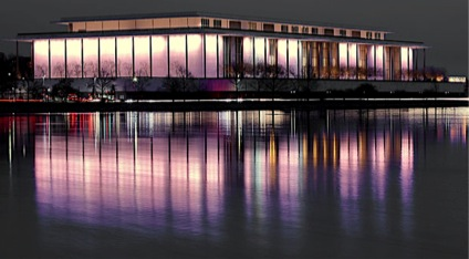 Kennedy Center at night reflecting over water.