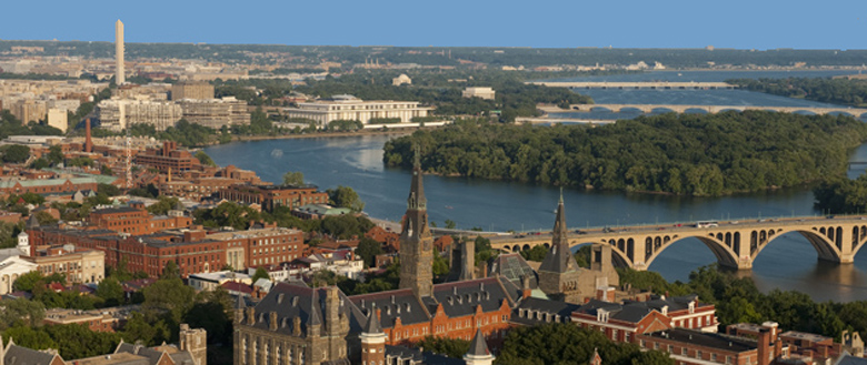 aerial photo of Georgetown University with Washington DC in the background